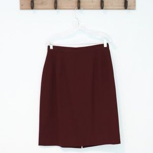Vintage Land's End wool skirt deep red a-line